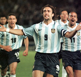 Gabriel Batistuta, con Argentina